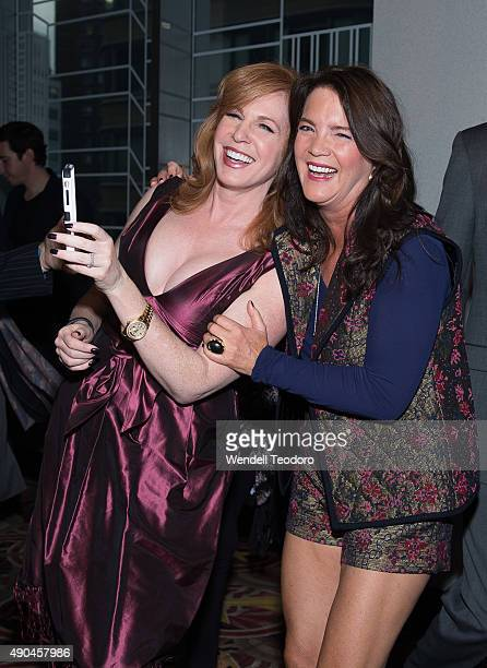 Personality Liz Claman and Peggy Gelfond attends The Walk IMAX Special screening at the AMC Lincoln Square Theater on September 28 2015 in New York...