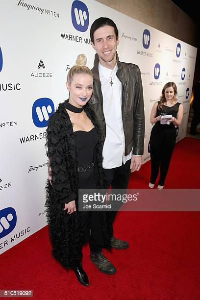 TV personality Liz Trinnear and musician Nathaniel Motte of 3OH3 attend Warner Music Group's annual Grammy celebration at Milk Studios Los Angeles on...
