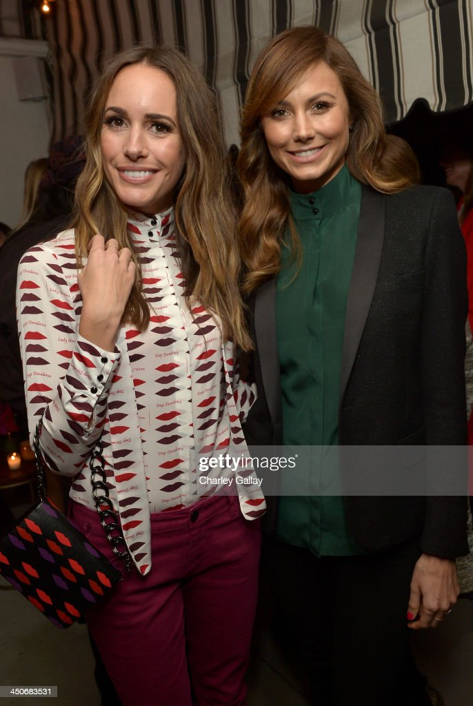 TV personality Louise Roe (L) and actress Stacy Keibler attend the launch celebration of the Banana Republic L'Wren Scott Collection hosted by Banana Republic, L'Wren Scott and Krista Smith at Chateau Marmont on November 19, 2013 in Los Angeles, California.