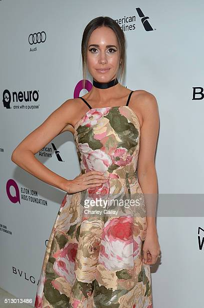 TV personality Louise Roe attends Neuro at the 24th Annual Elton John AIDS Foundation's Oscar Viewing Party at The City of West Hollywood Park on...