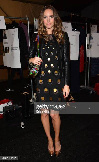 TV personality Louise Roe attends the Vivienne Tam show during MercedesBenz Fashion Week Fall 2014 at The Theatre at Lincoln Center on February 9...