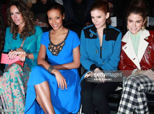 Personality Louise Roe, model Selita Ebanks, actress Kate Mara, and actress Nikki Reed attend the Tracy Reese Fall 2012 fashion show for TRESemme...
