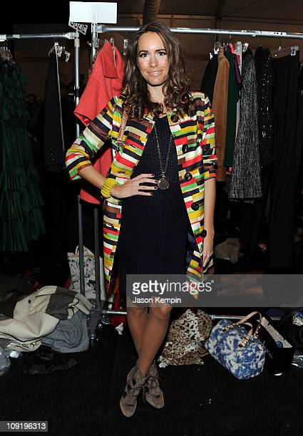 Personality Louise Roe poses backstage at the Milly by Michelle Smith Fall 2011 fashion show during Mercedes-Benz Fashion Week at The Stage at...