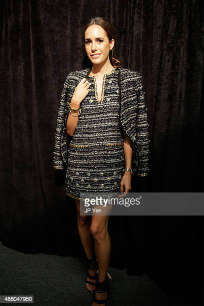 TV personality Louise Roe poses backstage at the Rachel Zoe Spring 2016 presentation during New York Fashion Week The Shows at The Space Skylight at...
