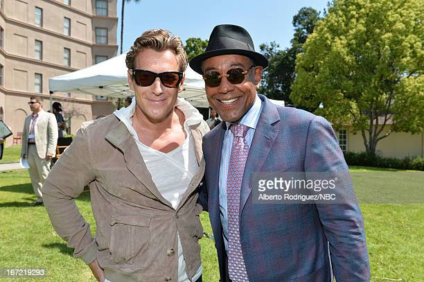 TV personality Magnus Sheving and actor Giancarlo Esposito attend the NBC Universal Summer 2013 Press Day at Langham Hotel on April 22 2013 in...