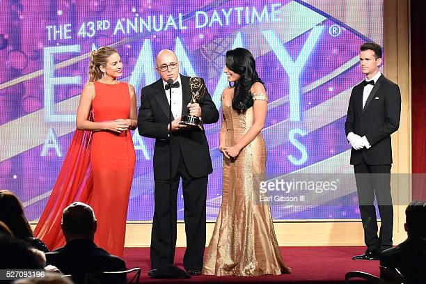 TV personality Mar��a Alejandra Requena VP of Programs at CNN Espa��ol Eduardo Suarez and TV personality Alejandra Oraa attend the 43rd Annual...