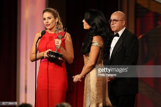 TV personality Maria Alejandra Requena TV personality Alejandra Oraa and VP of Programs at CNN Espaniol Eduardo Suarez speak onstage at the 2016...
