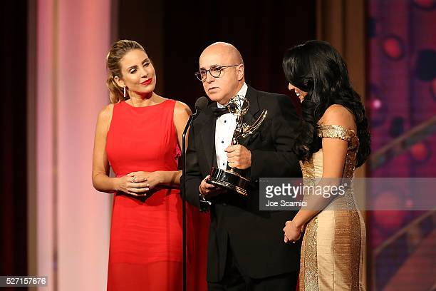 TV personality Maria Alejandra Requena VP of Programs at CNN Espanol Eduardo Suarez and TV personality Alejandra Oraa speak onstage during the 2016...