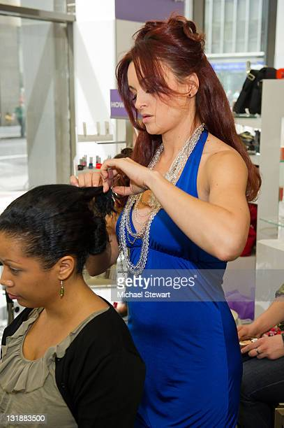 TV personality Maria Kanellis attends FashionOnTheGo hair styling services celebration at Duane Reade on May 6 2011 in New York City