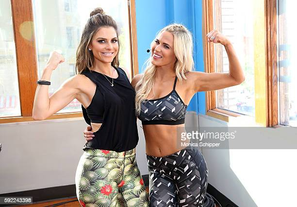 TV personality Maria Menounos and professional wrestler Lana attend the Tapout Fitness WWE Special Event at Tapout Fitness on August 19 2016 in New...