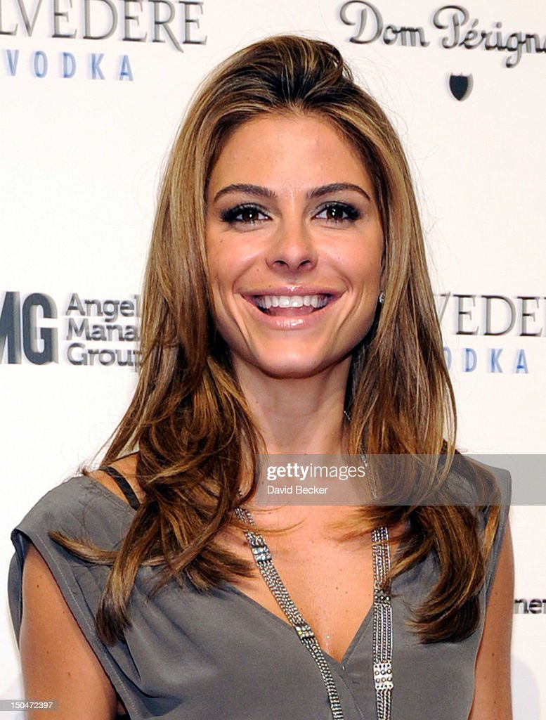 TV personality Maria Menounos arrives at a post concert party at the Pure Nightclub at Caesars Palace early August 19, 2012 in Las Vegas, Nevada.
