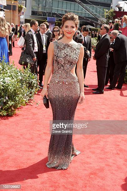TV personality Maria Menounos arrives at the 62nd Annual Primetime Emmy Awards held at the Nokia Theatre LA Live on August 29 2010 in Los Angeles...