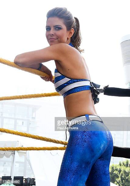 Personality Maria Menounos performs E's Total Divas at TakeOver SummerSlam at Nokia Plaza LA LIVE on August 18 2013 in Los Angeles California