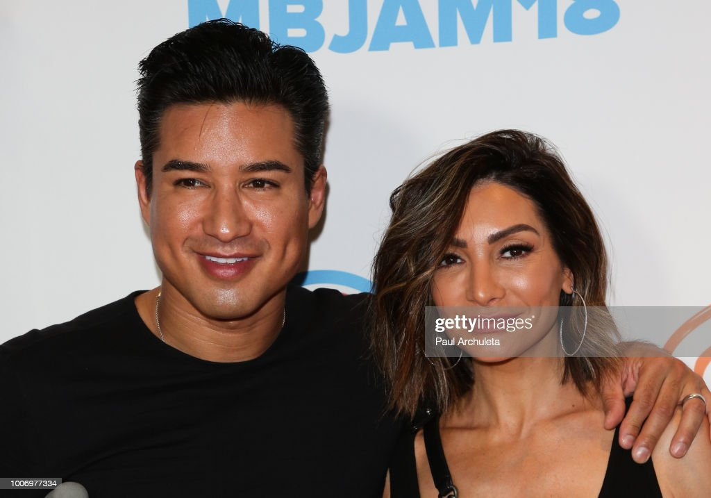 TV Personality Mario Lopez (L) and Actress Courtney Laine Mazza (R) attend the 2nd annual MBJAM18 presented by Michael B. Jordan and Lupus LA at Dave & Buster's on July 28, 2018 in Los Angeles, California.