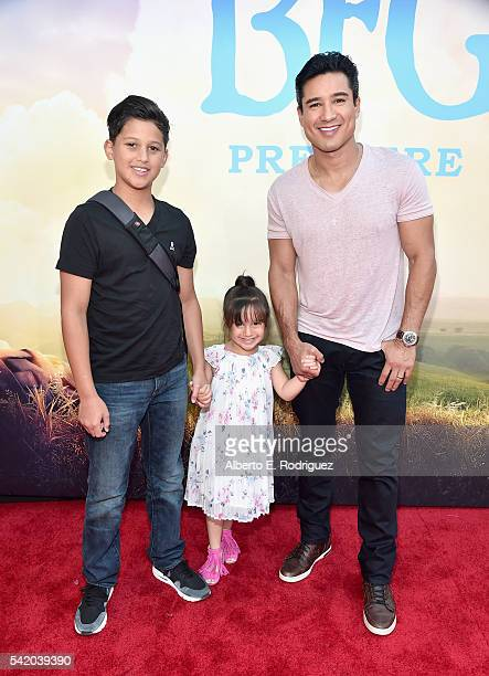 TV personality Mario Lopez and daughter Gia Francesca Lopez and guest arrive on the red carpet for the US premiere of Disney's The BFG directed and...