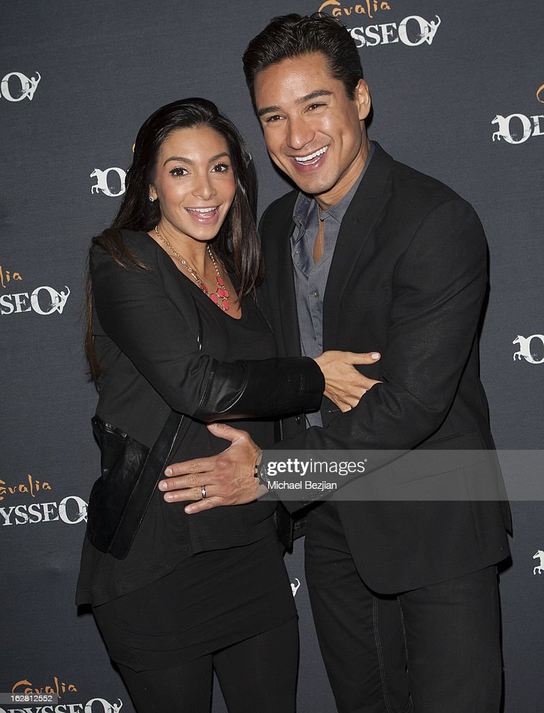 TV personality Mario Lopez and wife Courtney Laine Mazza attend Celebrity Red Carpet Opening For Cavalia's 'Odysseo' at Cavalia's Odysseo Village on February 27, 2013 in Burbank, California.