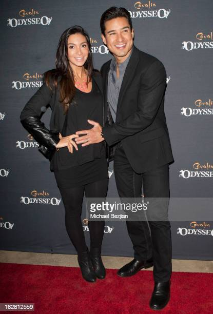 TV personality Mario Lopez and wife Courtney Laine Mazza attend Celebrity Red Carpet Opening For Cavalia's 'Odysseo' at Cavalia's Odysseo Village on...
