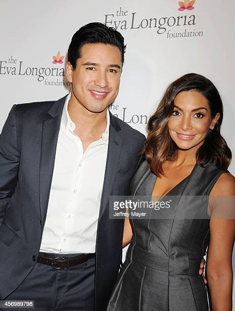 TV personality Mario Lopez and wife/actress Courtney Laine Mazza attend Eva Longoria's Foundation dinner at Beso on October 9 2014 in Hollywood...
