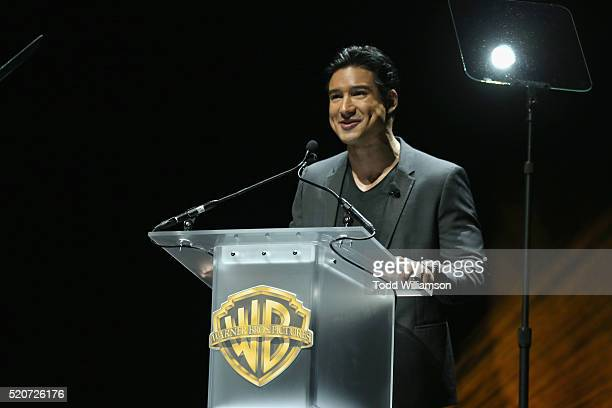 "TV personality Mario Lopez speaks onstage during CinemaCon 2016 Warner Bros Pictures Invites You to ""The Big Picture"" an Exclusive Presentation..."
