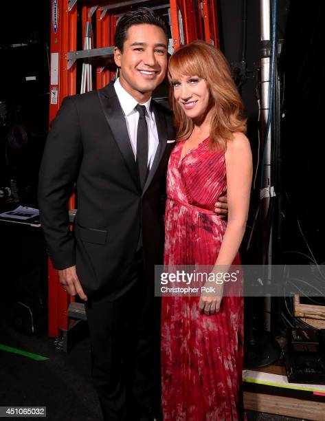 TV personality Mario López and comedian Kathy Griffin attends The 41st Annual Daytime Emmy Awards at The Beverly Hilton Hotel on June 22 2014 in...