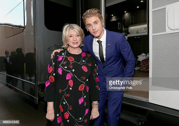 Personality Martha Stewart and honoree Justin Bieber attend The Comedy Central Roast of Justin Bieber at Sony Pictures Studios on March 14, 2015 in...