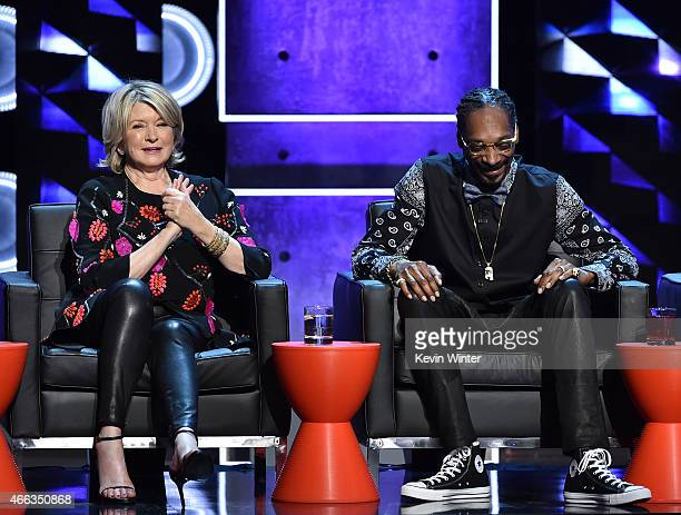 Personality Martha Stewart and rapper Snoop Dogg onstage at The Comedy Central Roast of Justin Bieber at Sony Pictures Studios on March 14, 2015 in...