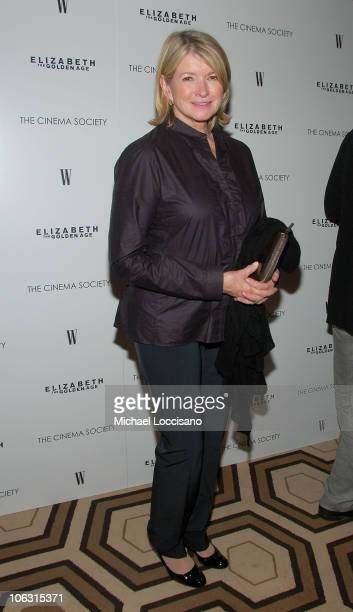TV Personality Martha Stewart arrives to The Cinema Society's Premiere of 'Elizabeth The Golden Age' at the Tribeca Grand Hotel in New York City on...