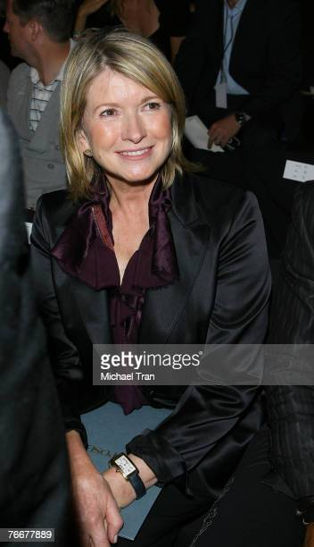 Personality Martha Stewart front row at Zac Posen Spring 2008 Collection during Mercedes-Benz Fashion Week at The Tent in Bryant Park on September...