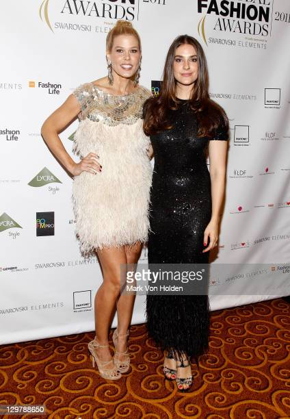 TV personality Mary Alice Stephenson poses with designer Ariana Rockefeller during the WGSN Global Fashion Awards at Gotham Hall on October 20 2011...