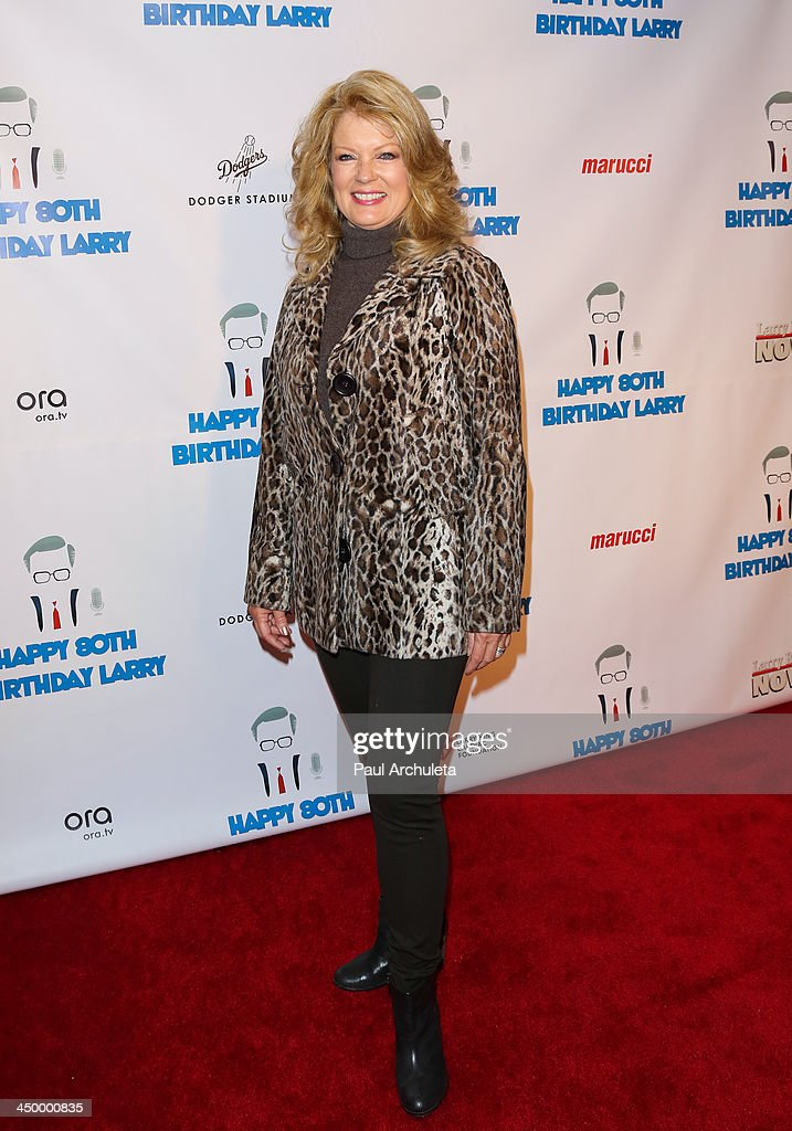TV Personality Mary Hart attends a surprise party for Larry King's 80th Birthday at Dodger Stadium on November 15, 2013 in Los Angeles, California.