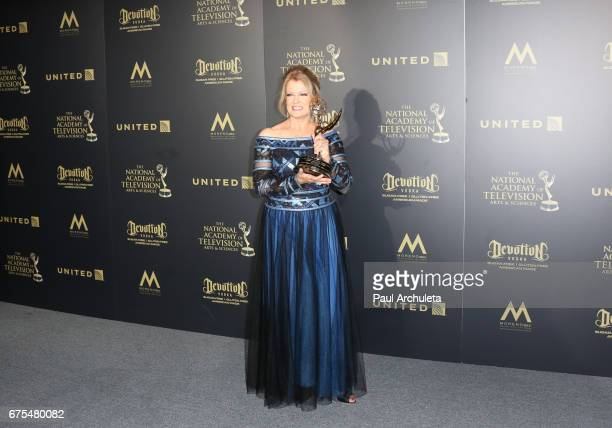 Personality Mary Hart attends the press room for the 44th annual Daytime Emmy Awards at Pasadena Civic Auditorium on April 30 2017 in Pasadena...