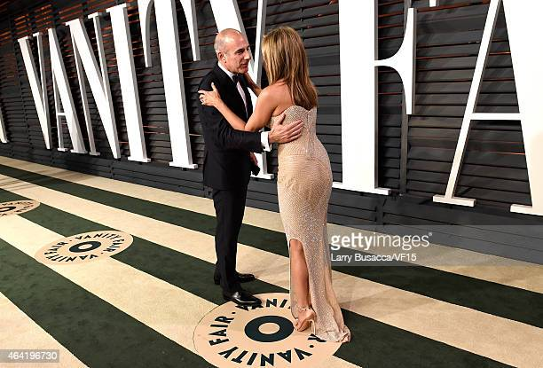 TV personality Matt Lauer and actress Jennifer Aniston attend the 2015 Vanity Fair Oscar Party hosted by Graydon Carter at the Wallis Annenberg...