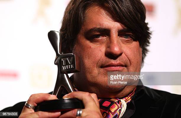 TV personality Matt Preston of Masterchef poses with the Logie for most popular Reality program in the 52nd TV Week Logie Awards room at Crown Casino...