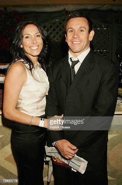 TV personality Matthew Johns attends with his wife Patricia Johns the Emirates marquee at the David Jones Australian Derby Day the first day of the...
