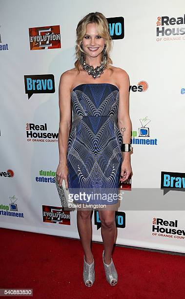 TV personality Meghan King Edmonds attends the premiere party for Bravo's 'The Real Housewives of Orange County' 10 Year Celebration at Boulevard3 on...