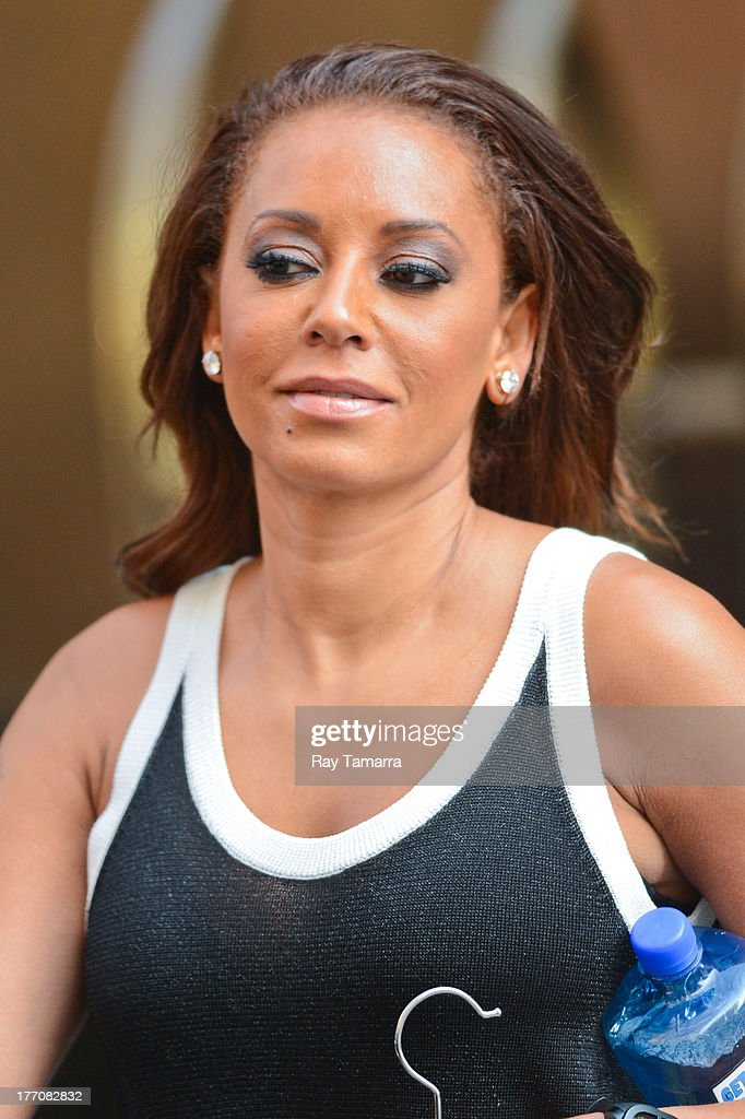 TV personality Melanie Brown leaves her Soho hotel on August 20, 2013 in New York City.