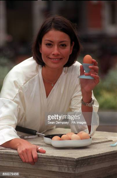 TV personality Melanie Sykes poses for the media during a photocall in London this morning to launch 'Crack An Egg Month' and celebrate being voted...