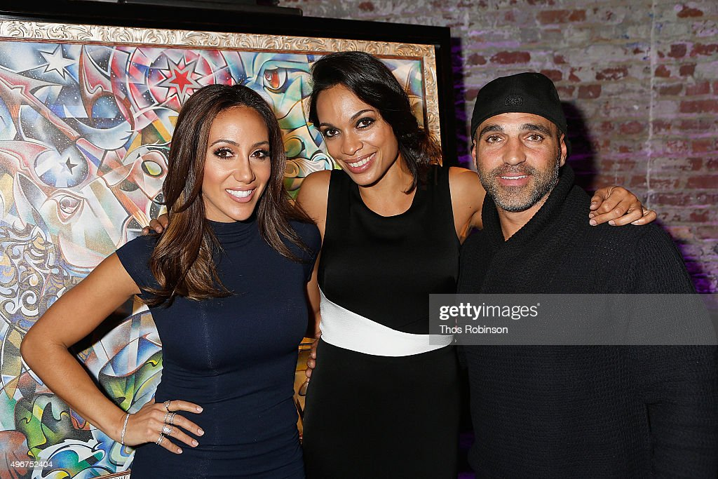 TV personality Melissa Gorga, actress Rosario Dawson, and Joe Gorga attend Courvoisier Cognac's Exceptional Journey Campaign Celebration on November 11, 2015 in New York City.