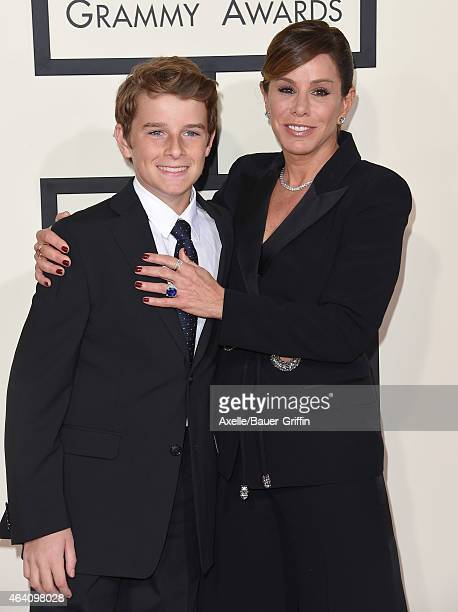 TV personality Melissa Rivers and son Cooper Endicott arrive at the 57th Annual GRAMMY Awards at Staples Center on February 8 2015 in Los Angeles...