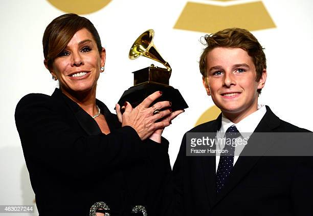 TV personality Melissa Rivers and son Cooper Endicott with the Best Spoken Word Album award for 'Diary Of A Mad Diva' won by the late Joan Rivers...