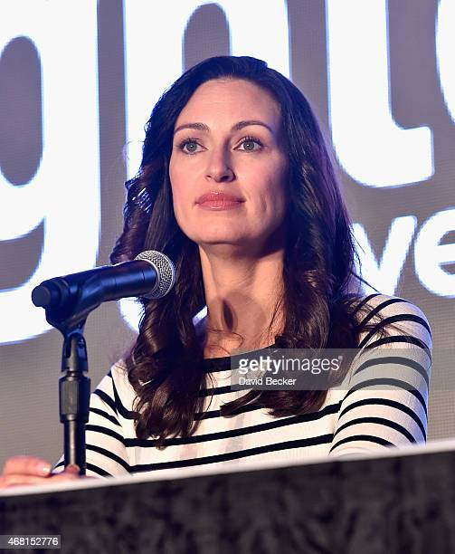 TV personality Mia Mastroianni speaks onstage during the 30th annual Nightclub Bar Convention and Trade Show at the Las Vegas Convention Center on...