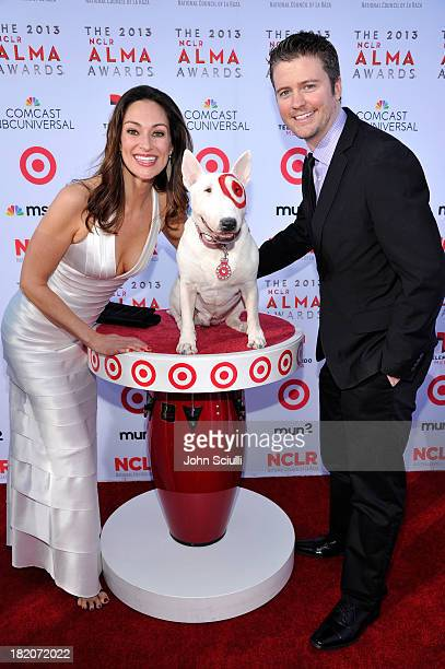 TV personality Mia Mastroianni Target's bull terrier mascot Bullseye and producer David J Phillips celebrate the 2013 NCLR ALMA Awards sponsored by...