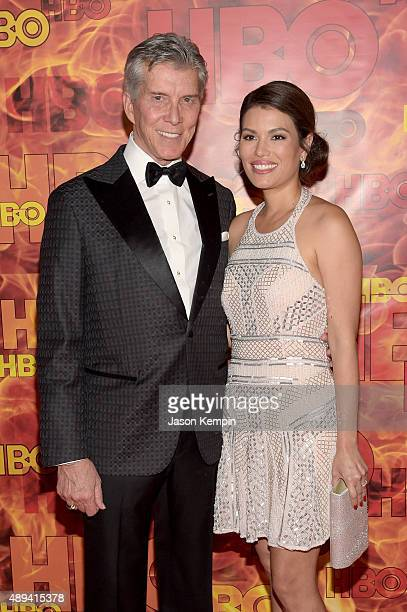 Personality Michael Buffer and Christine Buffer attend HBO's Official 2015 Emmy After Party at The Plaza at the Pacific Design Center on September...