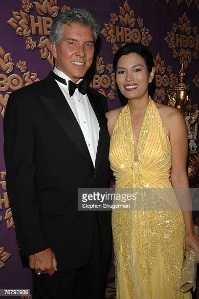 Personality Michael Buffer and Christine Prado attend the HBO Emmy after party at the Pacific Design Center on September 16, 2007 in Los Angeles,...