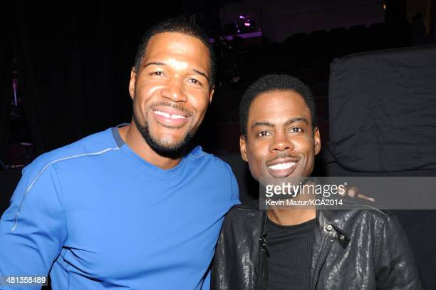 TV personality Michael Strahan and actor Chris Rock attend Nickelodeon's 27th Annual Kids' Choice Awards held at USC Galen Center on March 29 2014 in...