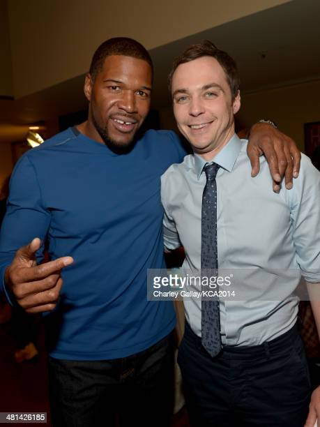 TV personality Michael Strahan and actor Jim Parsons attend Nickelodeon's 27th Annual Kids' Choice Awards held at USC Galen Center on March 29 2014...