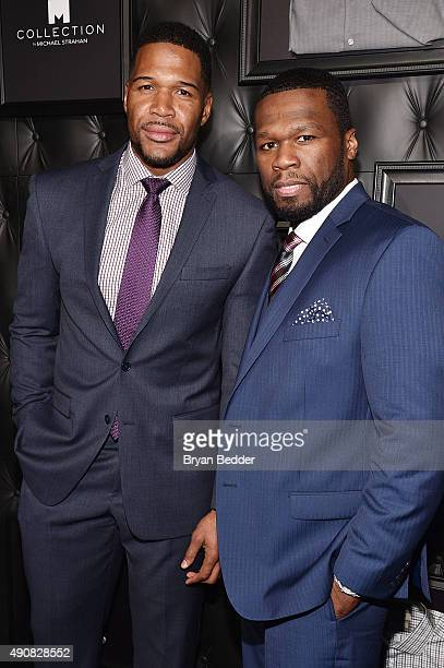 TV personality Michael Strahan and Curtis '50 Cent' Jackson attend JCPenney and Michael Strahan's launch of Collection by Michael Strahan on...