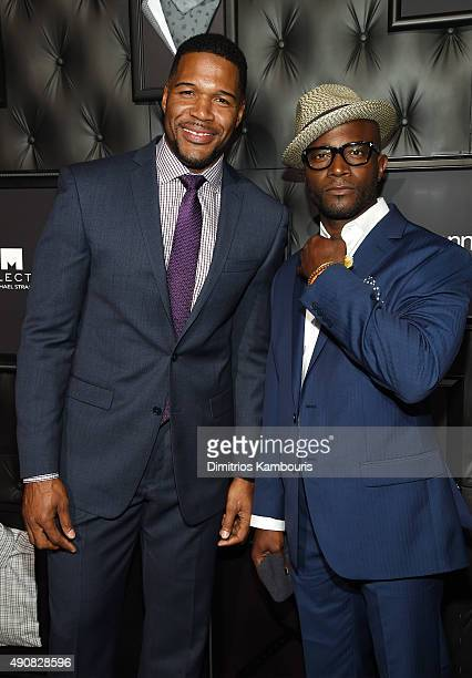TV personality Michael Strahan and Taye Diggs attend JCPenney and Michael Strahan's launch of Collection by Michael Strahan on September 30 2015 in...