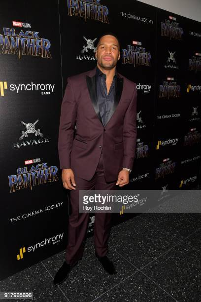 TV personality Michael Strahan attends the screening of Marvel Studios' Black Panther hosted by The Cinema Society on February 13 2018 in New York...