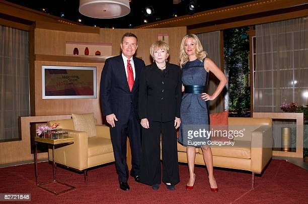 TV personality Mike Jerrick actress Shirley McClaine and Juliet Huddy pose for a photo on FOX's The Morning Show With Mike and Juliet on September 8...